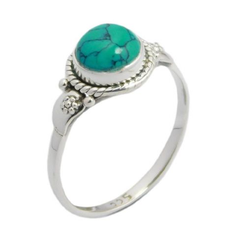 Round Gemstone Stone Paisley Ring ~ Sterling Silver